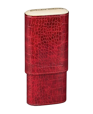 3 Finger Red Crocodile Leather Case